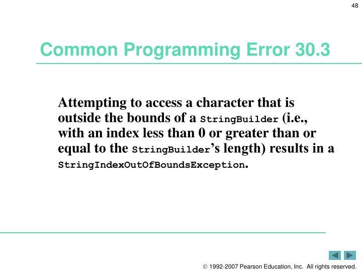 Common Programming Error 30.3