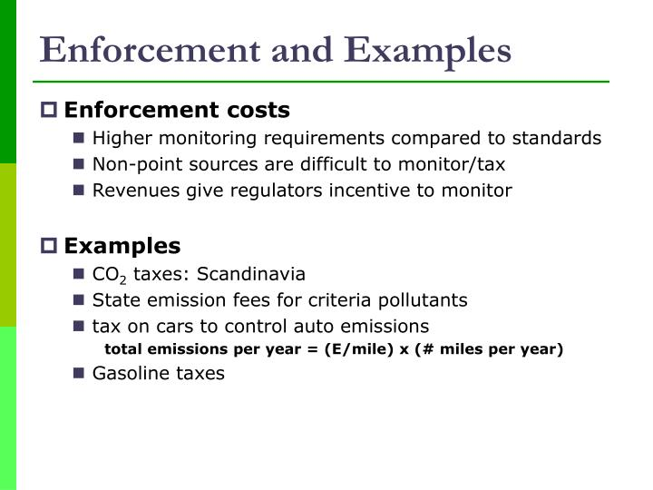 Enforcement and Examples