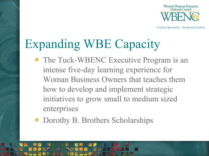 Expanding WBE Capacity