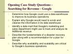 opening case study questions searching for revenue google
