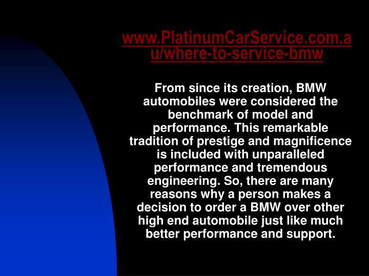 Www platinumcarservice com au where to service bmw