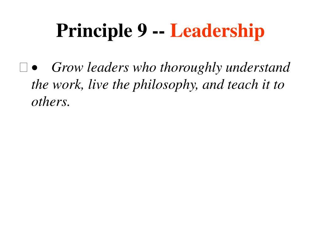 Principle 9 --