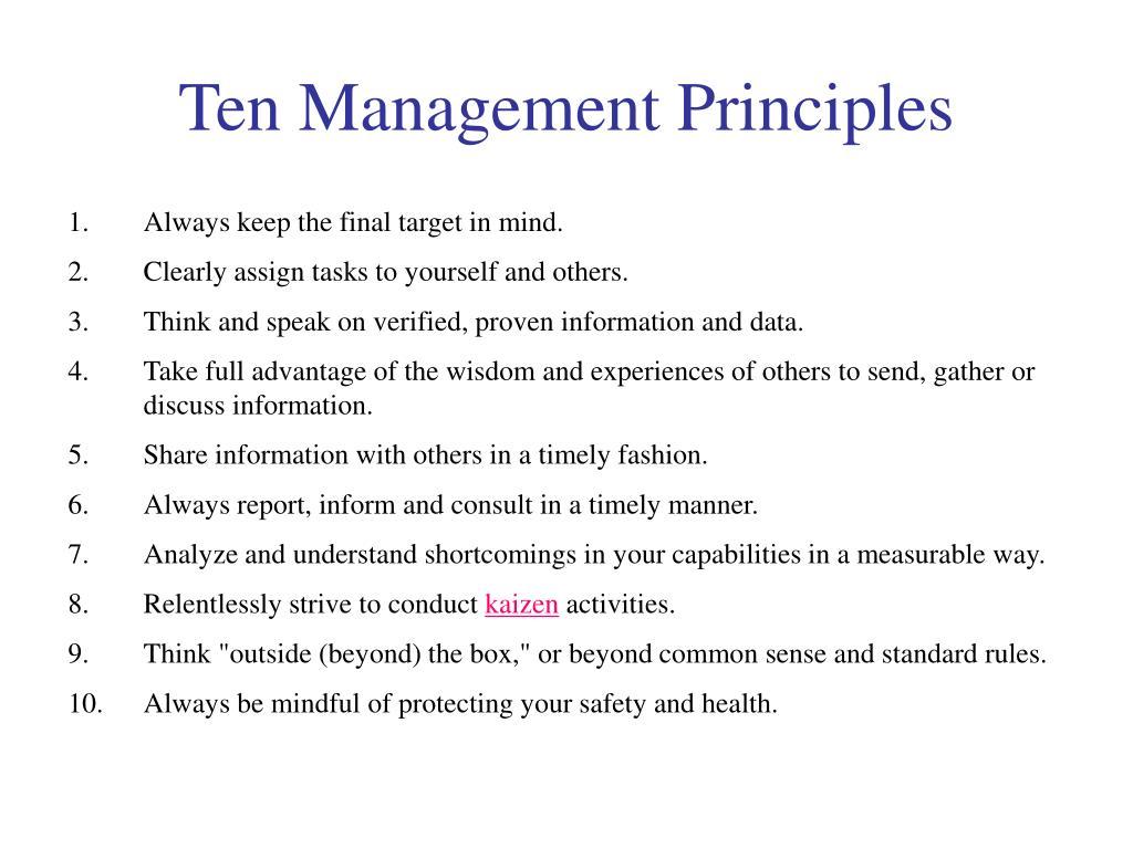 Ten Management Principles