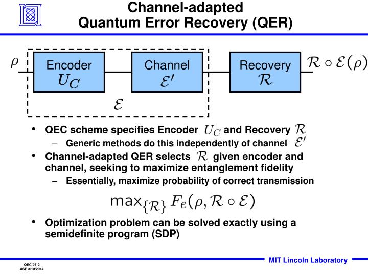 Channel adapted quantum error recovery qer
