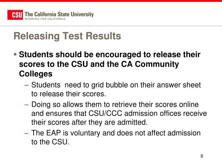 Releasing Test Results