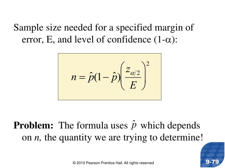 Sample size needed for a specified margin of error, E, and level of confidence (1-