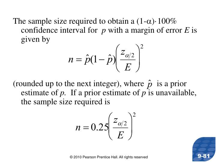 The sample size required to obtain a (1-