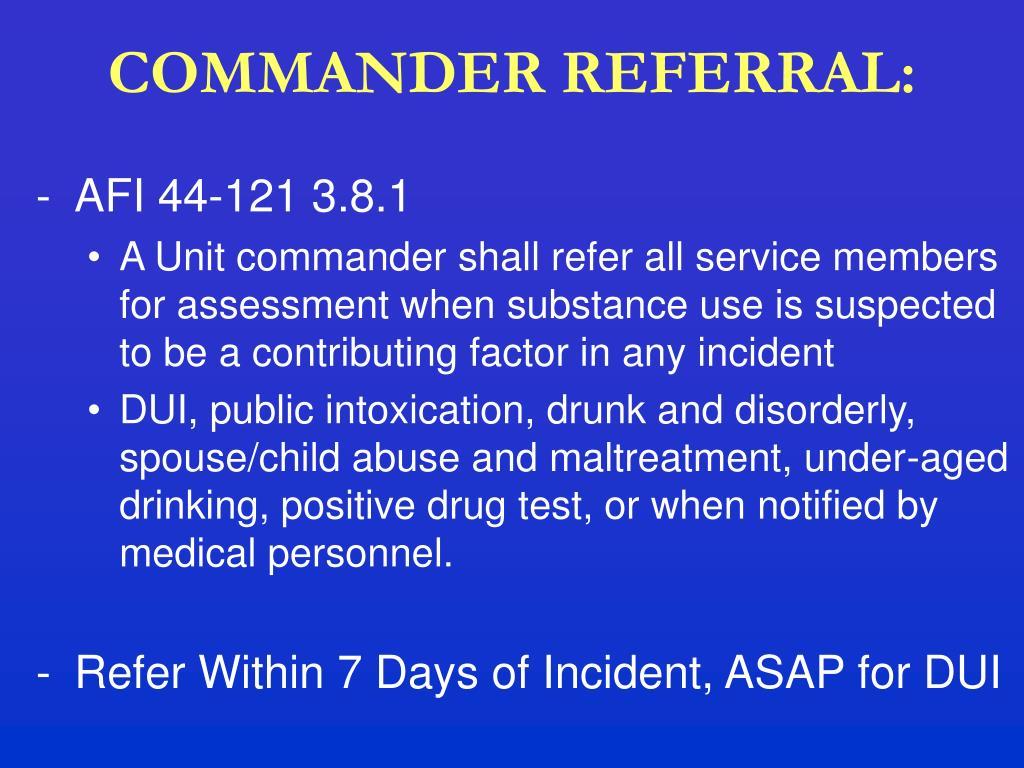 COMMANDER REFERRAL: