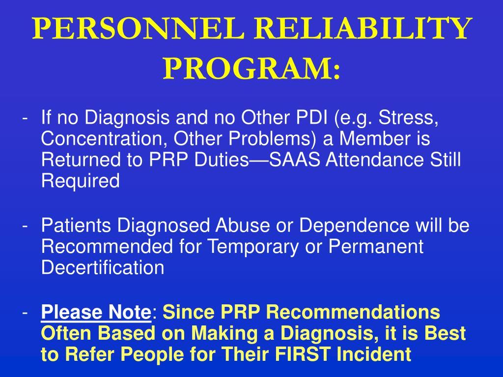 PERSONNEL RELIABILITY PROGRAM: