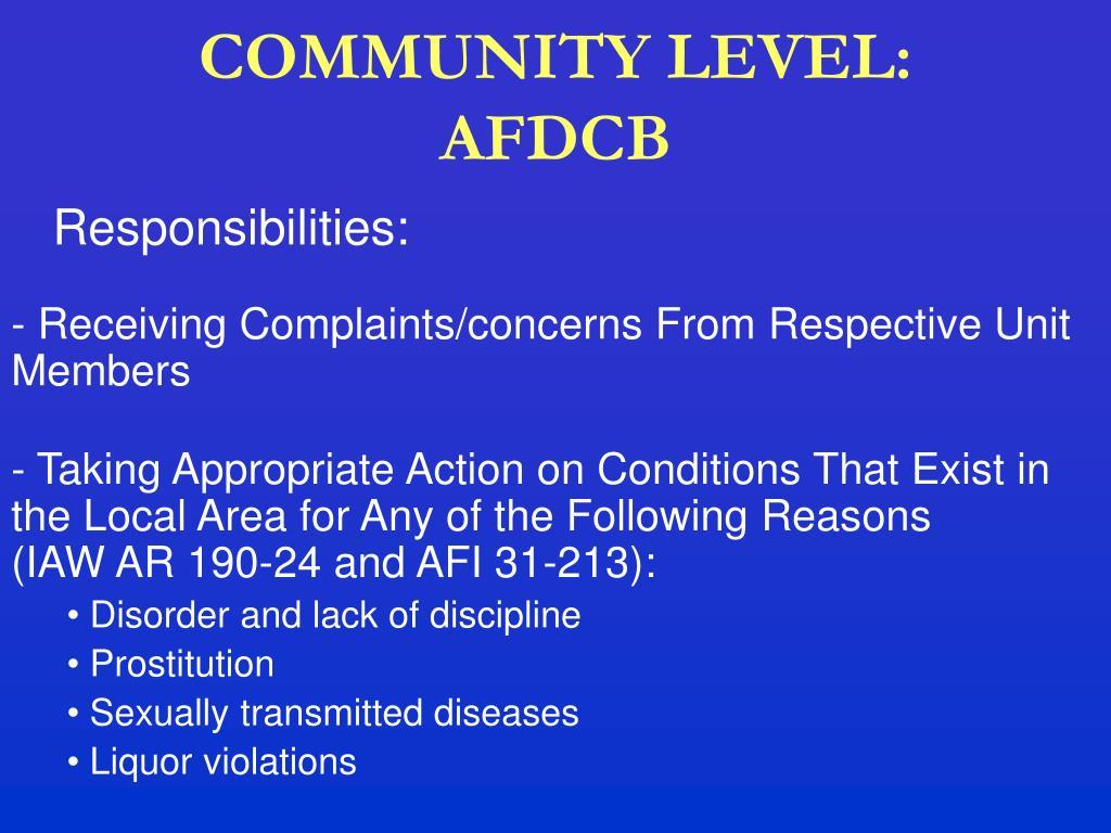 COMMUNITY LEVEL: