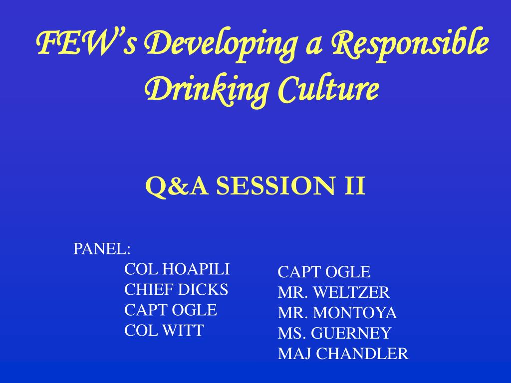 FEW's Developing a Responsible Drinking Culture