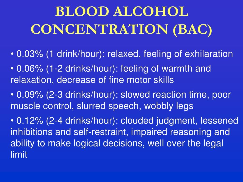 BLOOD ALCOHOL CONCENTRATION (BAC)