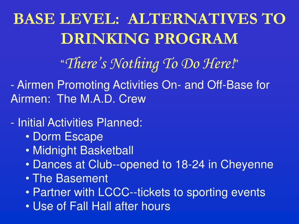 BASE LEVEL:  ALTERNATIVES TO DRINKING PROGRAM