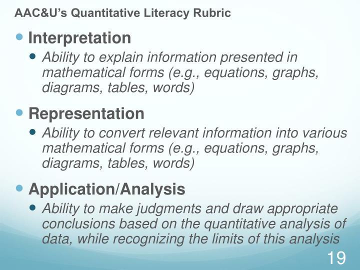 AAC&U's Quantitative Literacy Rubric