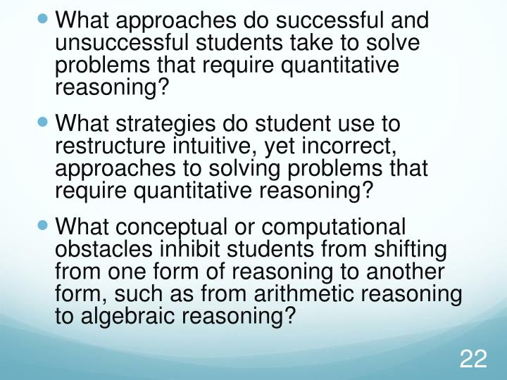 What approaches do successful and unsuccessful students take to solve problems that require quantitative reasoning?