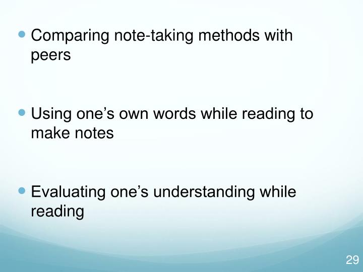 Comparing note-taking methods with         peers