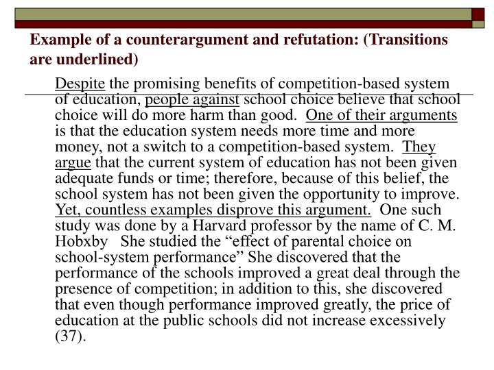 counter argument transitions