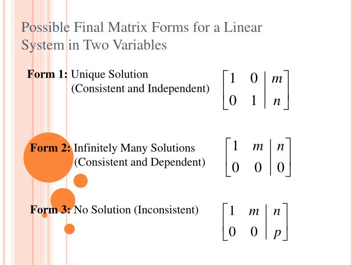 Possible Final Matrix Forms for a Linear System in Two Variables