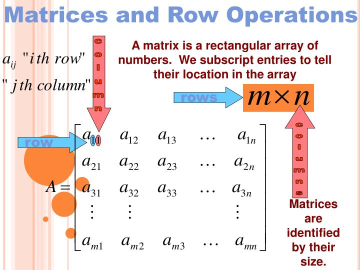 Matrices and Row Operations