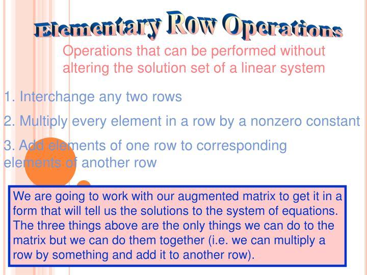 Elementary Row Operations