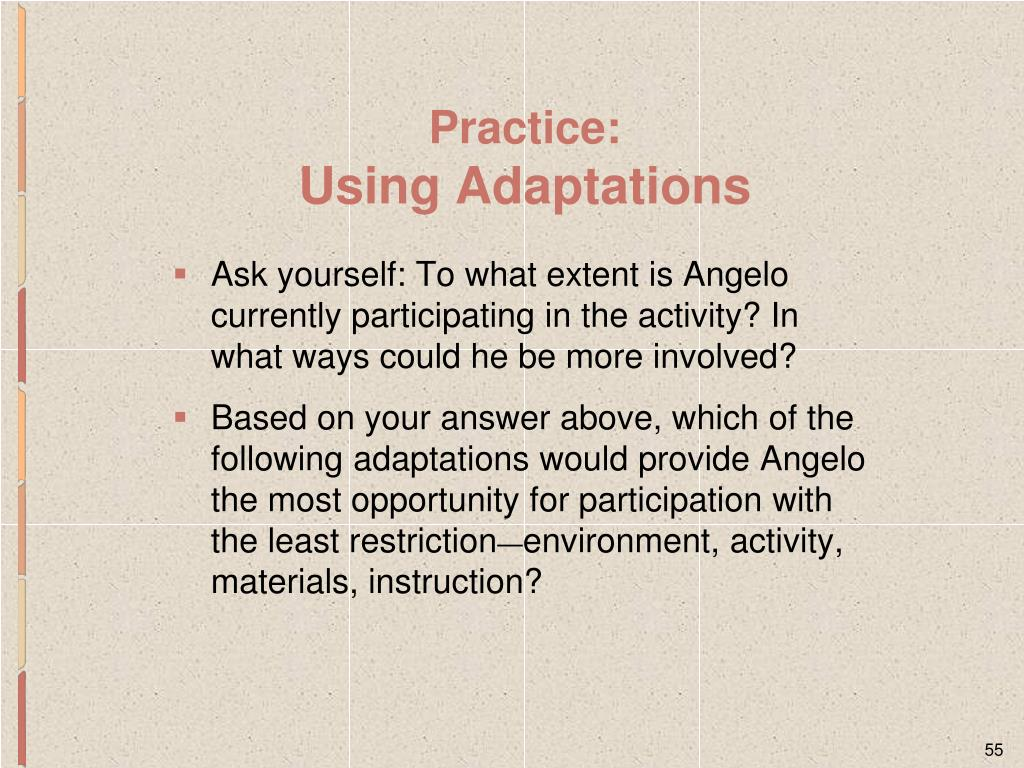 Ask yourself: To what extent is Angelo currently participating in the activity? In what ways could he be more involved?