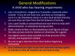 general modifications a child who has hearing impairments
