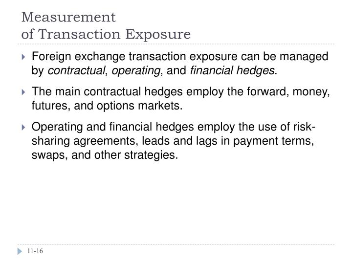 measurement of foreign exchange exposure
