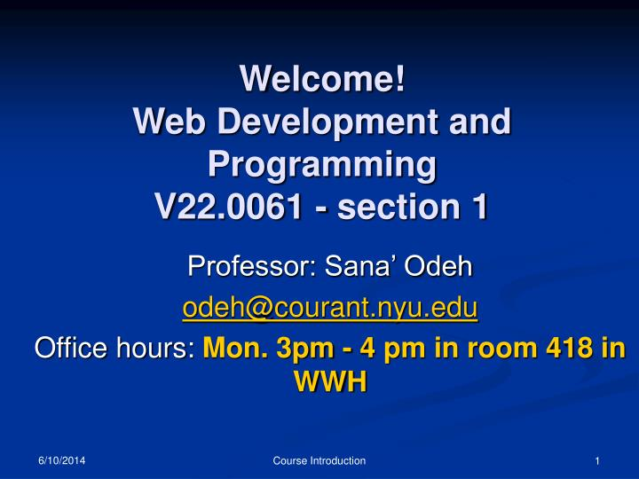 welcome web development and programming v22 0061 section 1 n.