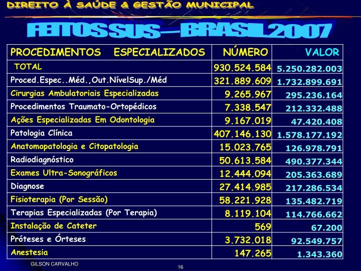 FEITOS SUS – BRASIL 2007