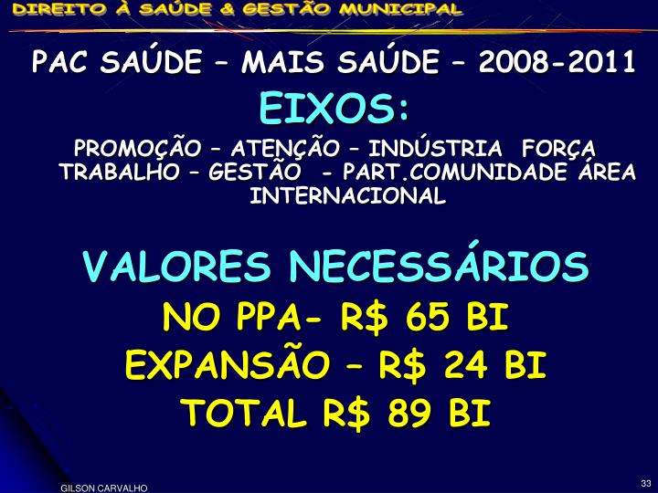 PAC SAÚDE – MAIS SAÚDE – 2008-2011