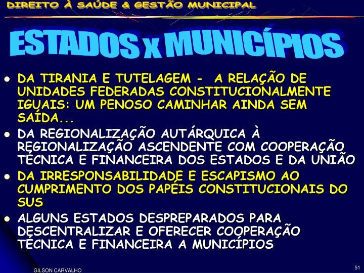 DA TIRANIA E TUTELAGEM -  A RELAÇÃO DE UNIDADES FEDERADAS CONSTITUCIONALMENTE IGUAIS: UM PENOSO CAMINHAR AINDA SEM SAÍDA...