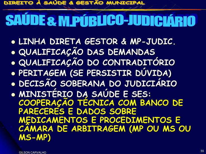 SAÚDE & M.PÚBLICO-JUDICIÁRIO