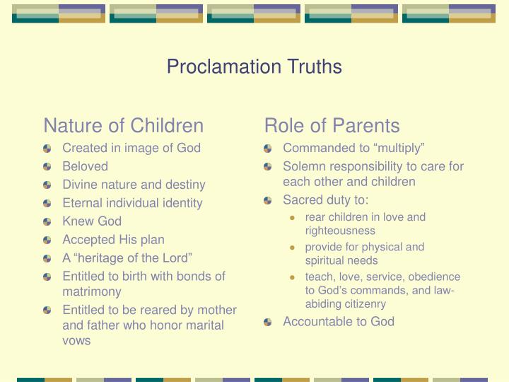 Proclamation truths