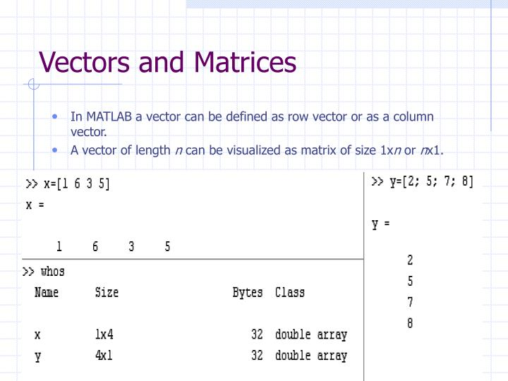 vectors and matrices n.