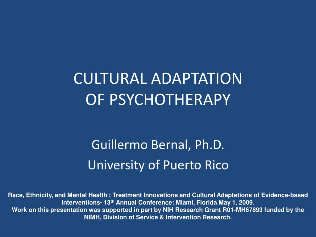 cultural adaptation of psychotherapy l.