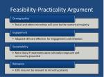 feasibility practicality argument