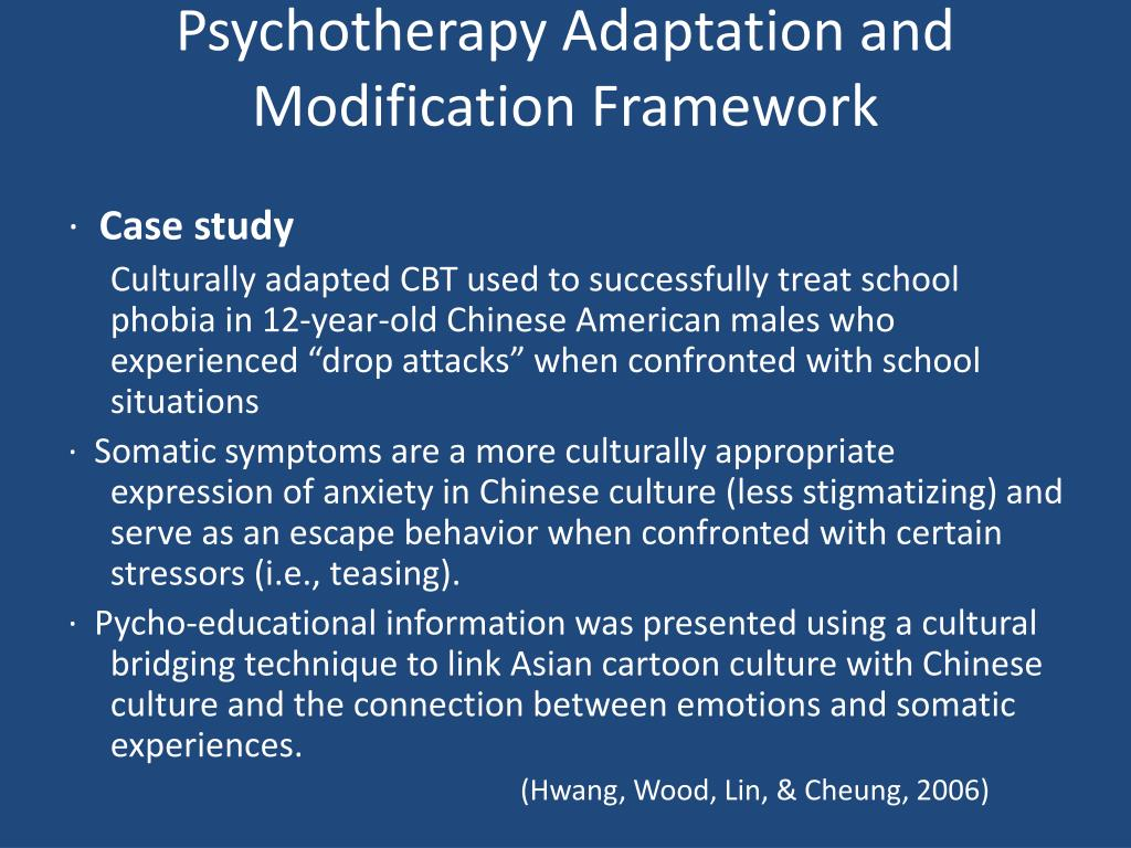 Psychotherapy Adaptation and Modification Framework