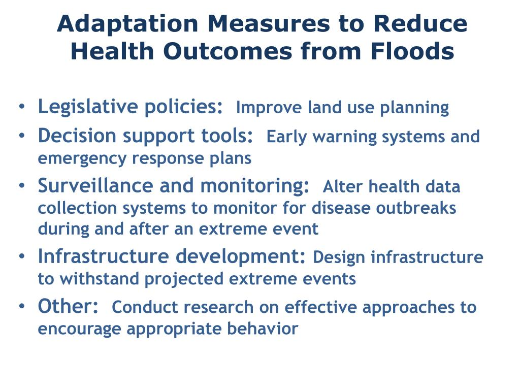 Adaptation Measures to Reduce Health Outcomes from Floods