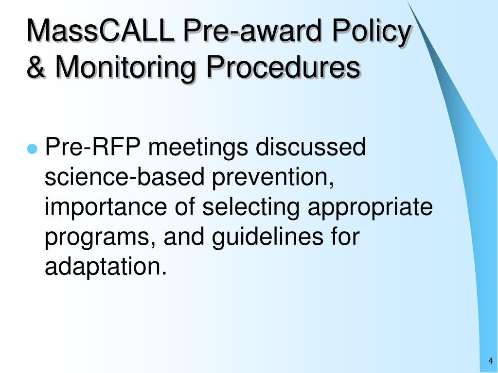 MassCALL Pre-award Policy