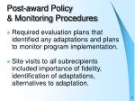 post award policy monitoring procedures