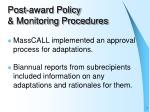 post award policy monitoring procedures8