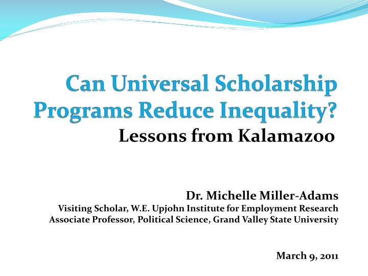 can universal scholarship programs reduce inequality n.
