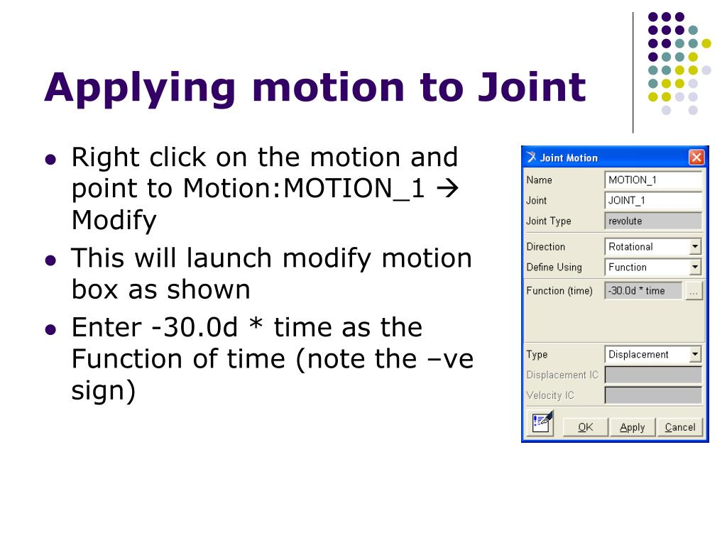 Applying motion to Joint