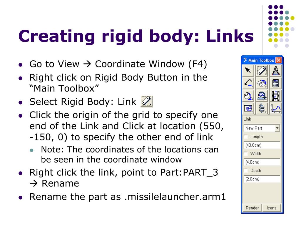 Creating rigid body: Links