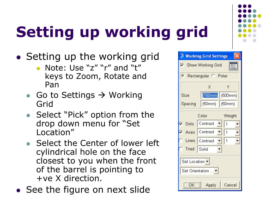Setting up working grid