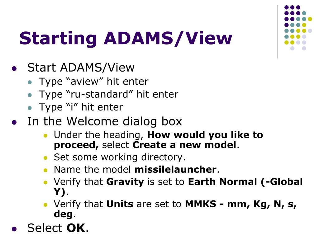 Starting ADAMS/View