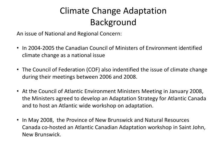 Climate change adaptation background