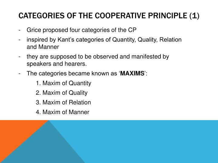 Categories of the cooperative principle (1)