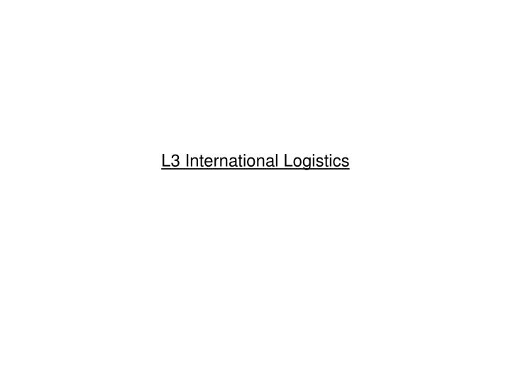 l3 international logistics n.