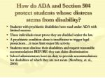 how do ada and section 504 protect students whose distress stems from disability
